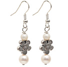 Wholesale Dangle Style Natural White Freshwater Pearl Long Earrings with Tibet Silver Flower Accessories