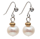 Simple Style 9-10mm Natural White Round Freshwater Pearl Earrings with Fish Hook