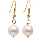 Simple Style Natural White 10-11mm Freshwater Pearl Earrings with Yellow Color Fish Hook