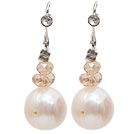Fashion Style Natural White Freshwater Pearl Earrings with Fish Hook