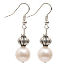 Wholesale Simple Style Natural White 10-11mm Freshwater Pearl Earrings with Tibet Silver Accessories