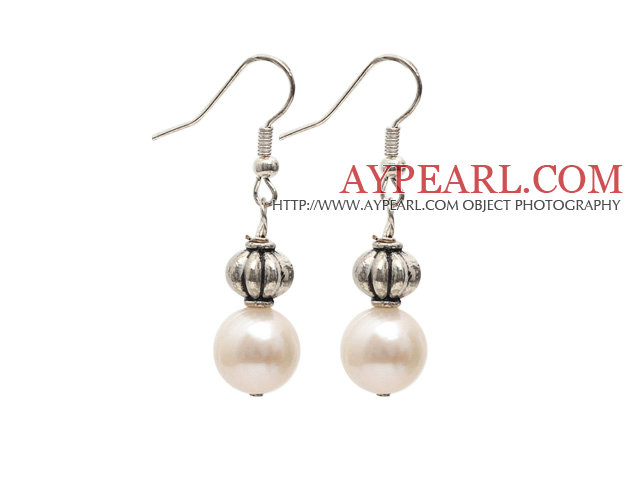 Simple Style Natural White 10-11mm Freshwater Pearl Earrings with Tibet Silver Accessories