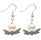Wholesale Simple Style A Grade Round Freshwater Pearl Earrings with Tibet Silver Wing Accessories