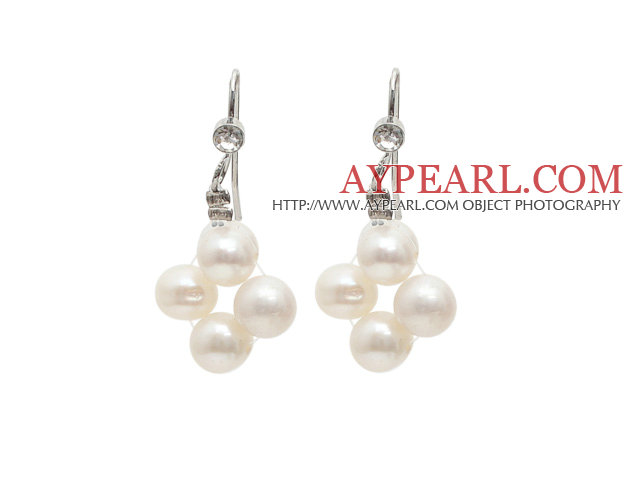 Fashion Style 5-6mm Natural White Freshwater Pearl Earrings with Fish Hook