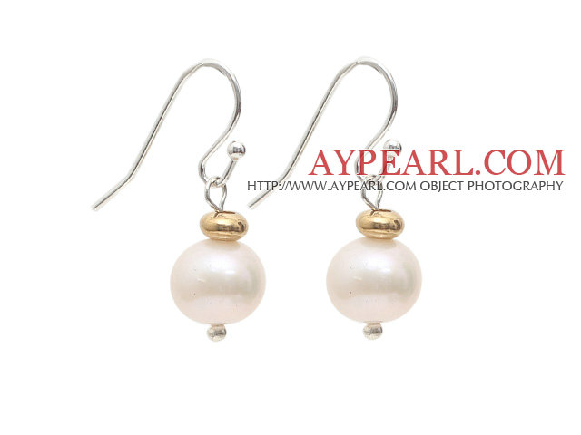 Natural Round 9-10mm White Freshwater Pearl Earrings with Golden Color Metal Beads
