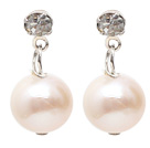 Fashion Style 9-10mm Natural White Freshwater Pearl Studs Earrings with Rhinestone