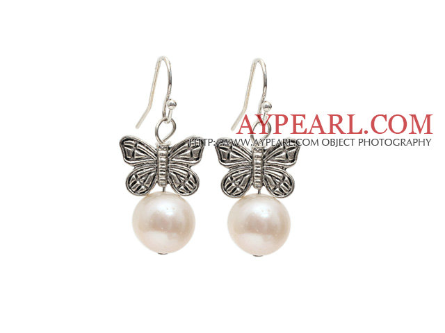 Simple Style 10-11mm Natural White Freshwater Pearl Earrings with Tibet Silver Butterfly Accessories