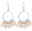 Wholesale Fashion Style Natural White Freshwater Pearl Crystal Hoop Earrings
