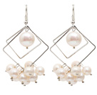 Wholesale Rhombus Shape Natural White Freshwater Pearl Earrings with Fish Hook