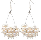 Wholesale Triangle Shape Natural 5-6mm White Freshwater Pearl Cluster Earrings