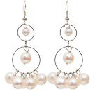 Wholesale Long Style Natural White Freshwater Pearl Dangle Earrings with Fish Hook