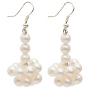 Wholesale Natural White 5-6mm White Freshwater Pearl Dangle Earrings