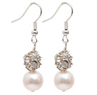 Fashion Style 9-10mm Natural White Freshwater Pearl Dangle Earrings with Rhinestone Ball
