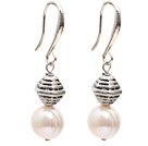 Fashion Style 10-11mm Natural White Freshwater Pearl Earrings with Tibet Silver Accessories