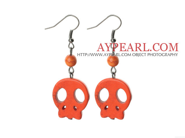 6 Pairs Simple Style Dyed Orange Red Turquoise Skull Earrings with Fish Hooks