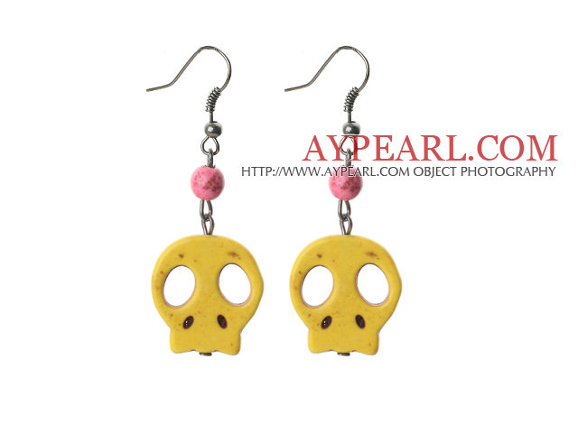 6 Pairs Simple Style Dyed Lemon Yellow Color Turquoise Skull Earrings with Fish Hooks