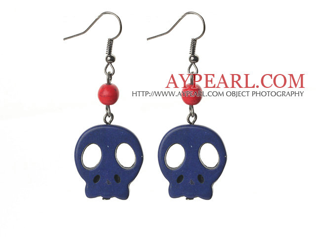 6 Pairs Simple Style Dyed Dark Blue Turquoise Skull Earrings with Fish Hooks