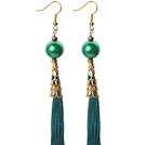 China Style Round Green Seashell and Green Thread Tassel Long Dangle Earrings