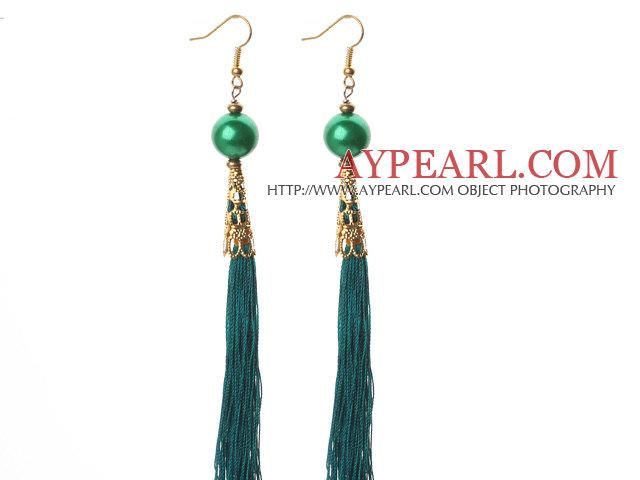 China Style Round Green Seashell and Green Thread Tassel Long Dangle Earrings