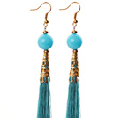 China Style Lake Blue Candy Jade and Blue Thread Tassel Long Dangle Earrings