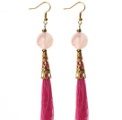 Wholesale China Style Rose Quartz and Hot Pink Thread Tassel Long Dangle Earrings
