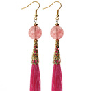 China Style Faceted Cherry Quartz and Hot Pink Thread Tassel Long Dangle Earrings