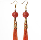 China Style Red Candy Jade and Orange Red Thread Tassel Long Dangle Earrings