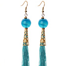 China Style Blue Agate and Blue Thread Tassel Long Dangle Earrings