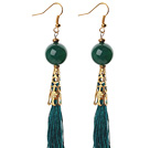 Wholesale China Style Round Green Agate and Green Thread Tassel Long Dangle Earrings