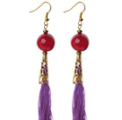 China Style Round Carnelian and Purple Thread Tassel Long Dangle Earrings