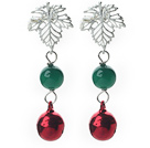 Wholesale 2014 Christmas Design Greeen Agate and Bell Studs Earrings