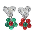 Wholesale Fashion Style White Freshwater Pearl and Green Agate and Carnelian Studs Earrings
