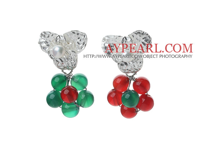 Fashion Style White Freshwater Pearl and Green Agate and Carnelian Studs Earrings