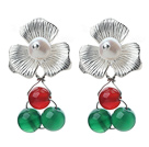 Wholesale Fashion Style White Freshwater Pearl and Green Agate and Carnelian Stud Earrings