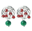 Wholesale Fashion Style Green Agate and Carnelian Studs Earrings