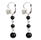 Beautiful Long Style Graduated Black Agate Beads Dangle Earrings With Rhinestone Hook