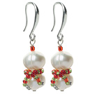 Wholesale 2014 Christmas Design White Freshwater Pearl Christmas Snowman Shape Earrings