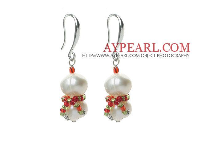 2013 Christmas Design White Freshwater Pearl Christmas Snowman Shape Earrings