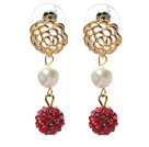White Freshwater Pearl and Red Rhinestone Ball Dangle Studs Earrings