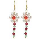 Wholesale White Freshwater Pearl and Red Coral and Carnelian and Green Crystal Dangle Earrings