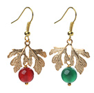 Wholesale 2014 Christmas Design Green Agate and Carnelian Earrings with Golden Color Tree Shape Accessories