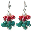 New Design White Freshwater Pearl and Red Pearl and Turquoise Chips Cluster Earrings