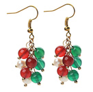 2013 Christmas Design 5-6mm White Pearl and Green Agate and Carnelian Earrings