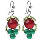 2013 Christmas Design Green Agate and Carnelian Earrings with Rhinestone Hook