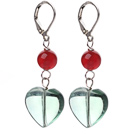 Wholesale New Design Round Carnelian and Heart Shape Green Fluorite Earrings