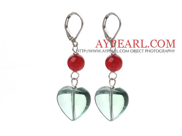 New Design Round Carnelian and Heart Shape Green Fluorite Earrings