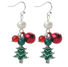 2013 Christmas Design White Pearl and Green Agate and Carnelian and Bell and Christmas Tree Charm Earrings