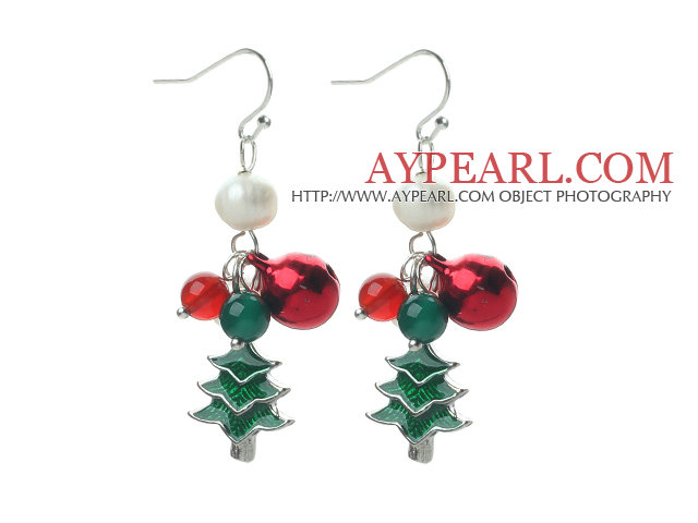 2014 Christmas Design White Pearl and Green Agate and Carnelian and Bell and Christmas Tree Charm Earrings