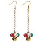 2014 Christmas Design White Pearl and Green Agate and Carnelian Dangle Earrings with Golden Color Metal Chain