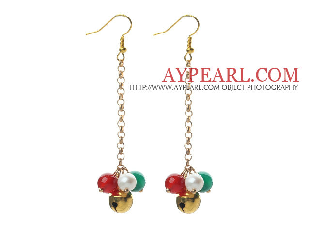 2013 Christmas Design White Pearl and Green Agate and Carnelian Dangle Earrings with Golden Color Metal Chain